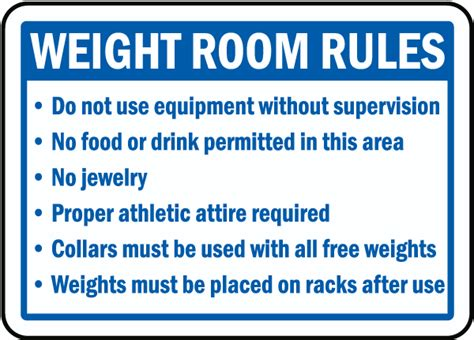 safety in the weight room weight room sign f7758 by safetysign