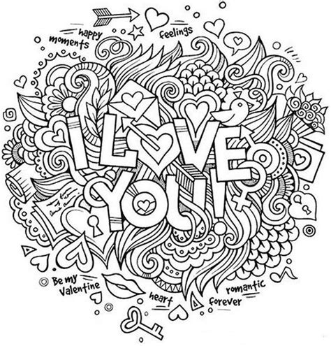 Miss U Coloring Pages by Quot I You Quot Zentangle Coloring Page Coloring