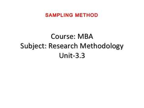 How Many Subject In Mba Course by Mba Ii Rm Unit 3 3 Sling Methods A