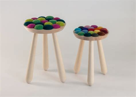 unique colorful stool with felted wool seating cool with