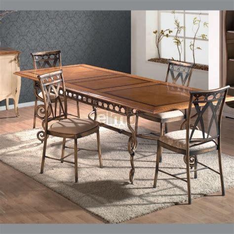 table repas extensible plateau bois pi 233 tement fer forg 233