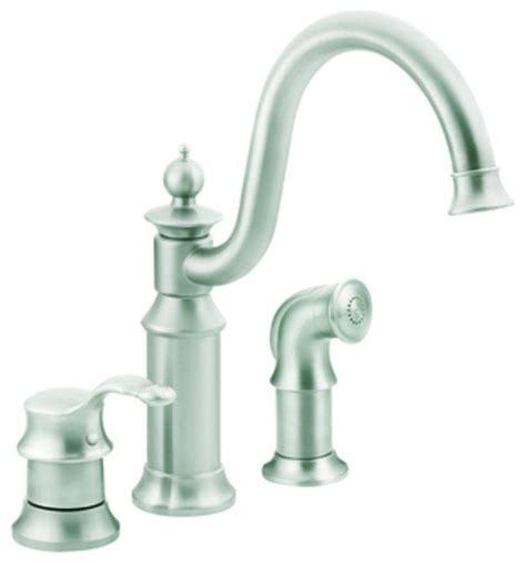moen waterhill kitchen faucet moen s711csl waterhill 1 handle side sprayer kitchen