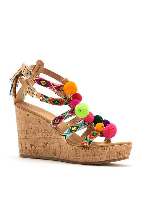 Wedges Pom Pom by Mabu Fira Pom Pom Wedge Multi