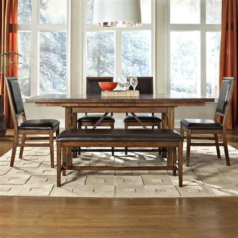 upholstered dining table bench 6 piece dining table upholstered chair and bench set by