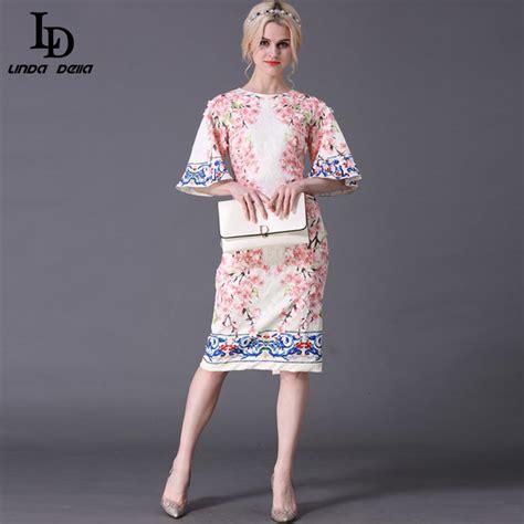 Jy779163 Slim Sleeved Dress summer style designer runway dress s flare sleeve slim printed jacquard appliques sheath