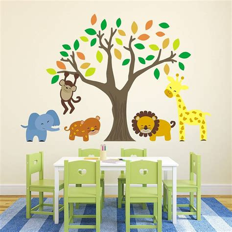 animal wall stickers for bedrooms jungle animals and tree wall stickers by mirrorin
