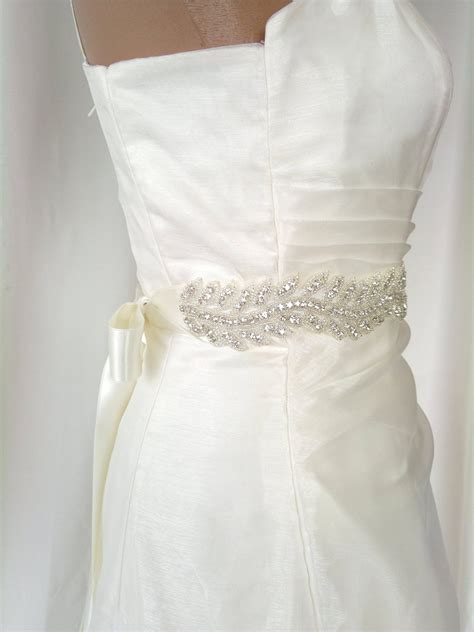 rhinestone beaded wedding dress sash by