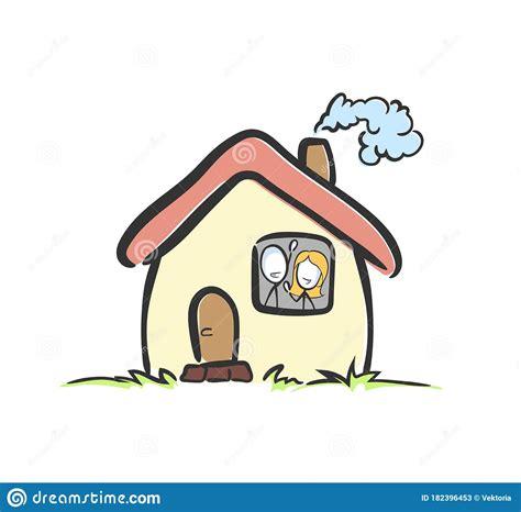stay home safe happy family hand drawn stickman cartoon