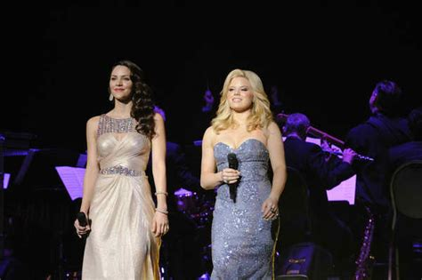 Mcphee Aguilera Host Dueling by Katharine Mcphee Left And Megan Hilty Perform At Nbc S