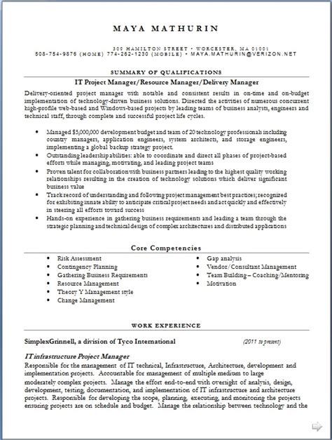 infrastructure project manager resume example sample template