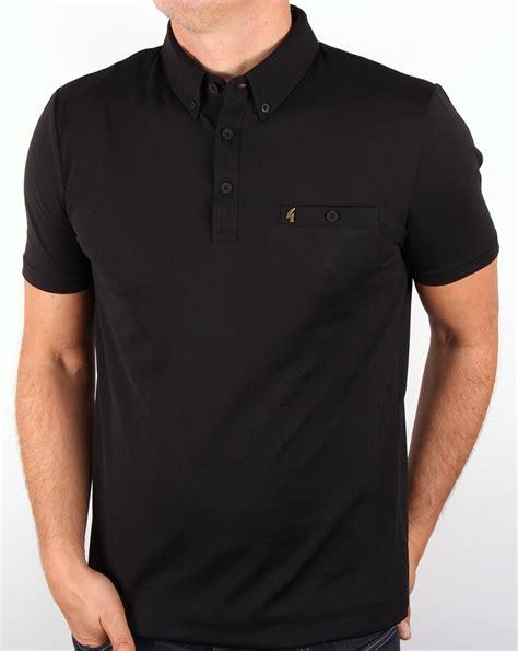 gabicci vintage polo shirt black button smart mens