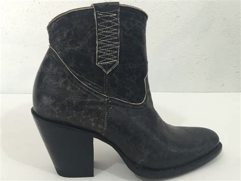 custom made black distressed look ankle boots