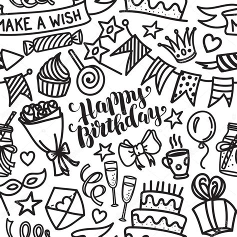 doodle happy birthday happy birthday lettering and doodle seamless pattern