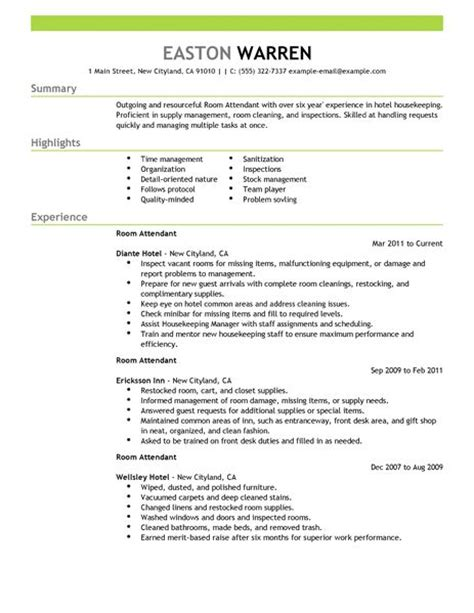 best room attendant resume exle livecareer