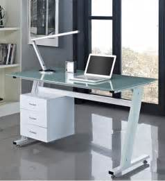 white glass top desk computer desk pc table office furniture work station glass top and sides