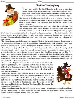 the thanksgiving reading comprehension passage and