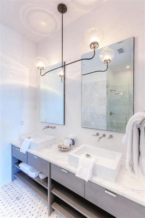 White Double Washstand With Gray Quartz Countertop Modern Cottage Bathroom