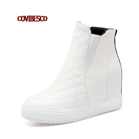 Sneaker Wedges Ankle Autunum Black white pink black ankle boots wedges high heel shoes autumn winter botas fashion