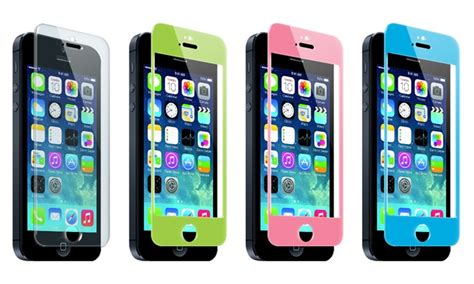 colored screen protector tempered glass screen protector for iphone 5 5s 5c groupon