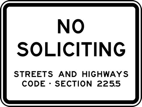 code section symbol no soliciting code section 225 5 sign f7383 by