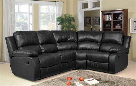 Recliner Sofa Suite Valencia 2c1 Leather Recliner Corner Sofa Suite Black Ebay