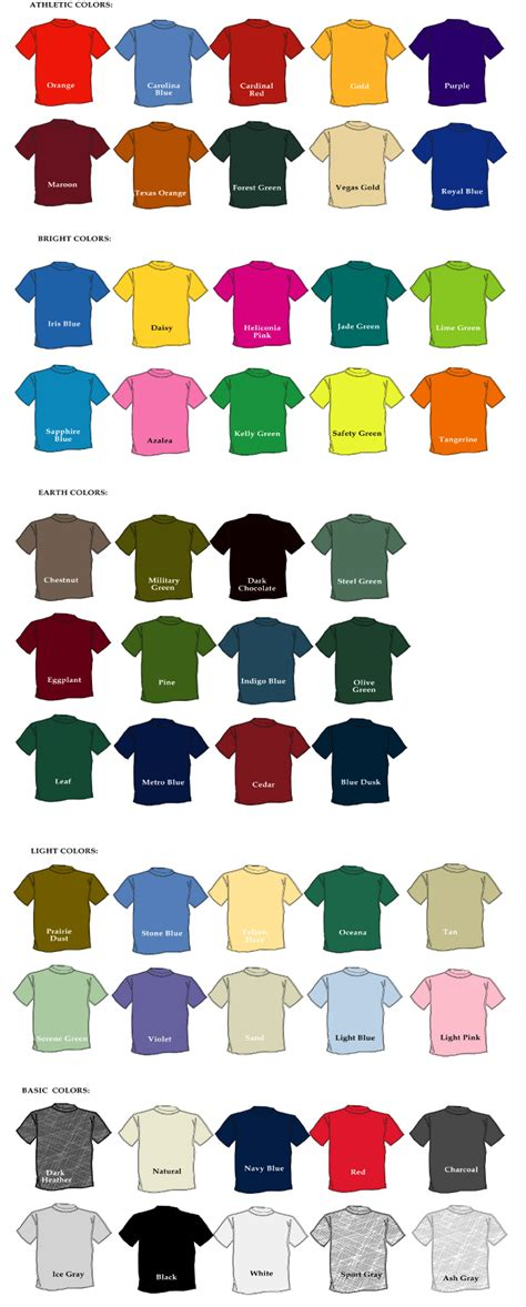 tshirt colors gildan t shirt color chart