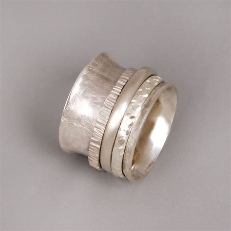 Silver Spinner Ring Sterling Silver Ring Womens by