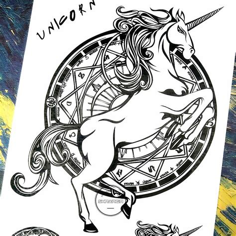 tattoo sticker black unicorn sticker well