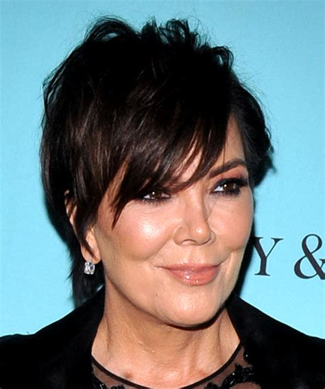 kris kardashian haircolor kris jenner short straight casual shag hairstyle with