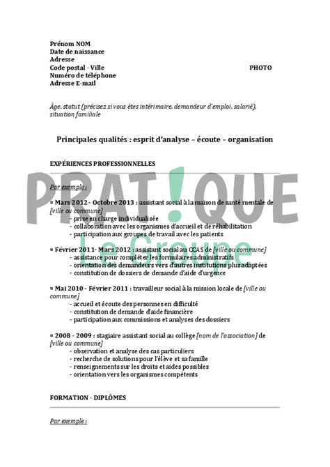 Exemple De Lettre De Motivation Travail Social Mod 232 Le De Cv D Un Assistant De Service Social Confirm 233 Pratique Fr