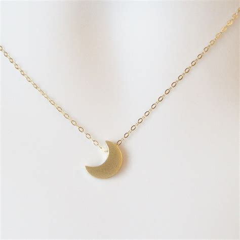 gold moon necklace crescent moon necklace gold filled