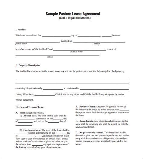 8 Pasture Lease Agreement Templates Sles Exles Format Sle Templates Grazing Lease Agreement Template