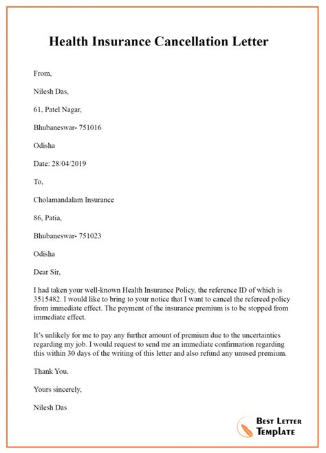 insurance cancellation letter template format sample