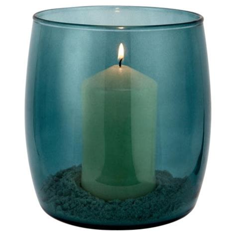 Teal Coloured Vases Buy Tesco Hurricane Teal Coloured Vase With Candle From