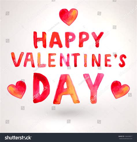 happy valentines day lettering watercolor happy valentines day lettering aqurelle stock
