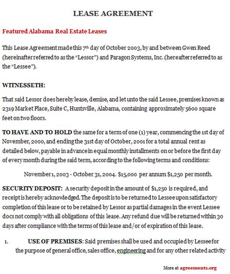 Alabama Lease Agreement Sle Alabama Lease Agreement Template Alabama Lease Agreement Template