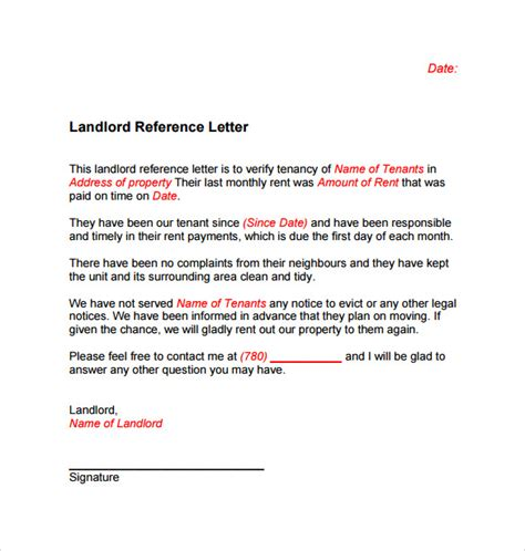 Landlord Personal Reference Letter Reference Letter Template For Tenant Cover Letter Templates