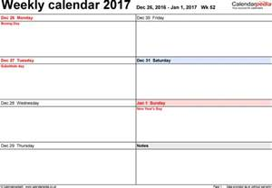 Calendar Template 2017 Weekly Weekly Calendar 2017 Uk Free Printable Templates For Pdf