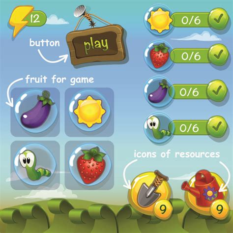 design elements in games cute game button and other design elements 03 vector