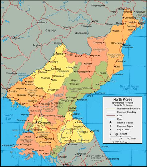 North Korea by North Korea Map And Satellite Image