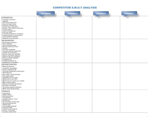 competitor comparison chart template excel template