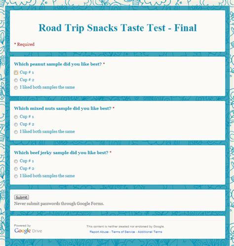 Road Trip Snacks Taste Test Home Cooking Memories Taste Test Survey Template