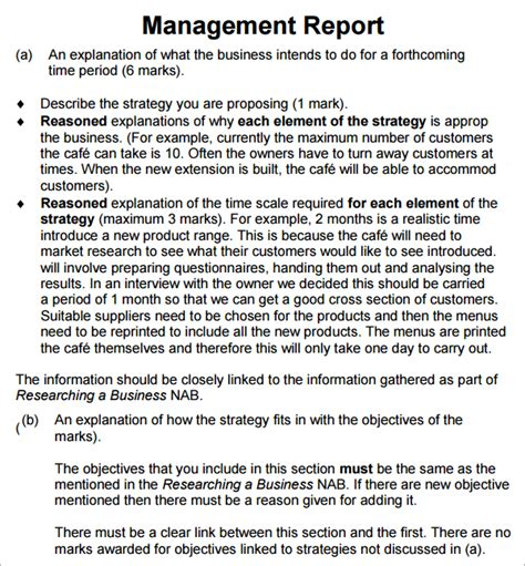 report to management template management report