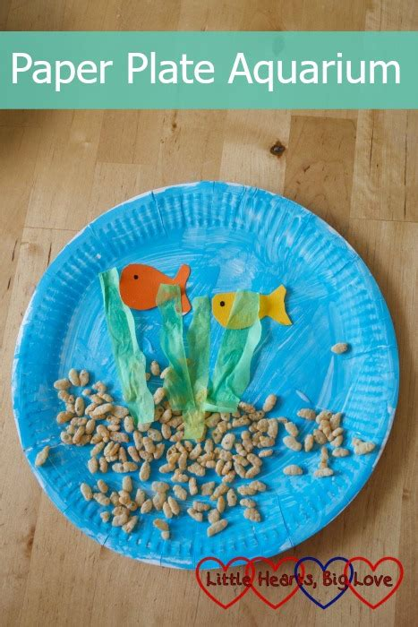 How To Make A Paper Aquarium - paper plate aquarium hearts big
