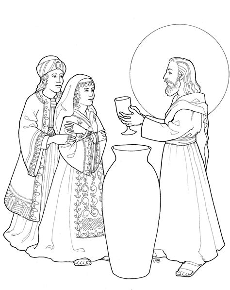 free wedding at cana coloring pages