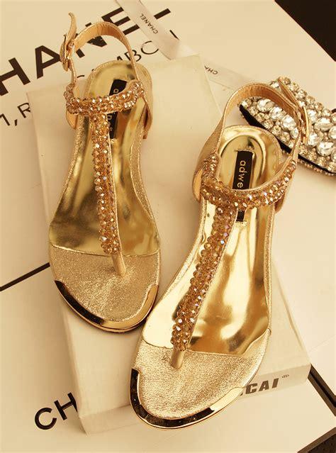 Wedges Flat Fashion 2013 metal rhinestone fashion s flat sandals gold black colors flats sandals wedges