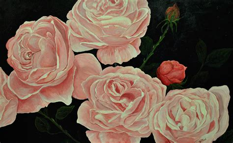 a bed of roses acrylic on canvas 30 quot by 48 quot pat gallery