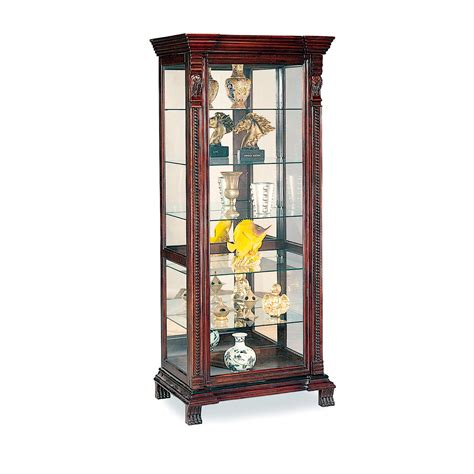 Doll Armoires 622 45 Curio Cabinet With Ornate Edges In Dark Brown