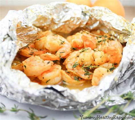 orange thyme grilled shrimp in foil packets yummy healthy easy