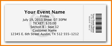 Free Event Ticket Template Authorization Letter Pdf Ticket Template For Microsoft Word